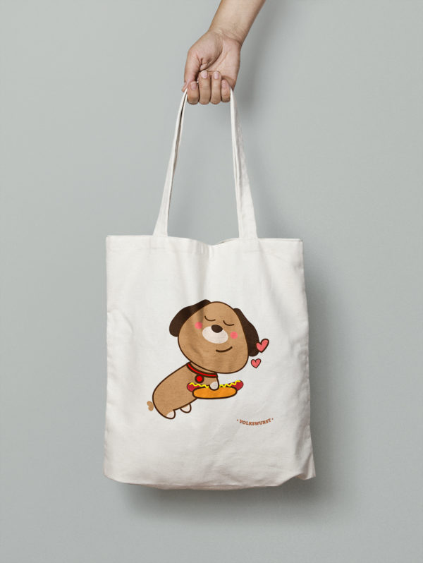 Volkswurst mascot year of the dog Chinese New Year Edition tote bag